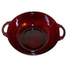 Vintage Depression Glass Anchor Hocking Coronation Royal Ruby Large Fruit Bowl
