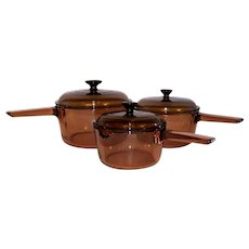 Vintage 19880's Visions-Ware Amber Glass Handled 3-Piece Oven To Table Set