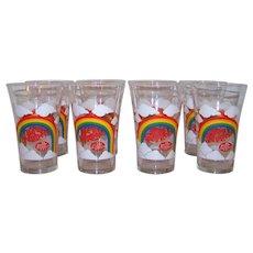 Vintage 1977 Dr. Pepper Vintage Rainbow & Clouds Scene Glassware Set