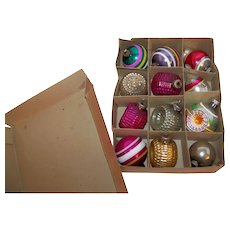 Vintage 1940's Shiny Brite Boxed Set Of Mercury Glass Christmas Ornaments