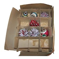 Vintage 1940's Shiny Brite Boxed Partial Set Of Mercury Glass Christmas Ornaments