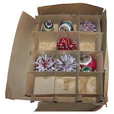 Vintage 1940's Shiny Brite Boxed Partial Set Of Mercury Glass Christmas Ornaments