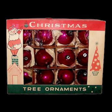 Vintage 1960's Fantasia Boxed Set Mercury Glass Christmas Ornaments