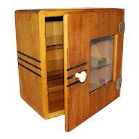 Vintage Art Deco Glass & Wood Barbershop Sanitizer  Cabinet