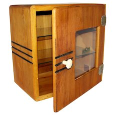 Vintage Art Deco Glass & Wood Barbershop Sanitizer  Cabinet