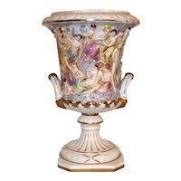 Vintage Italian Capodimonte Decorated Porcelain Urn Planter
