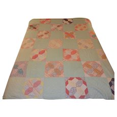 Vintage 1950's Hand Stitched Geometric Pattern Quilt
