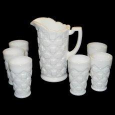 Vintage Westmoreland Milk Glass Old Quilt Pattern Pitcher and Juice Glasses
