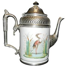 Vintage Manning Bowman Co Decorated Granite Ware and Pewter Teapot