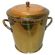 Vintage Everlast Solid Brass Ice Bucket with Wood top and Insulated Pyrex Glass