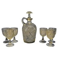 Antique EAPG Model Flint PEERLESS /Sunburst Diamond Decanter and Cordial Glasses ca. 1890's