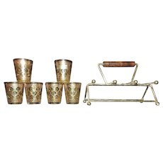Vintage Culver Valencia Shot Glasses with Caddy