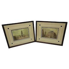 Vintage Professionally Matted and Framed Architectural Prints