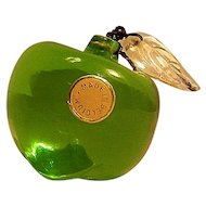 Vintage Small Belgium Art Glass Green Apple Paperweight