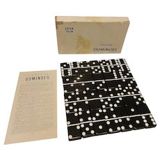 Puremco Extra Thick Marblelike Black Double Six Dominoes & Box Vintage Set