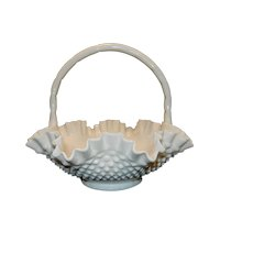 "Vintage Fenton 12"" Double Ruffle Hobnail Milk Glass Basket"