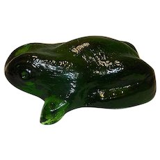 Vintage Green Glass Frog Paperweight
