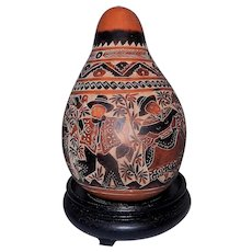 Vintage Peruvian Traditional Hand Carved & Painted Gourd Decorated with Musical Figurines and Dancers