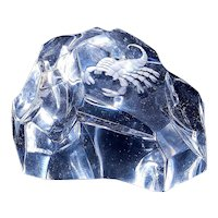 Vintage Val Saint Lambert Iceberg Crystal Art Glass With Intaglio Scorpion Paperweight