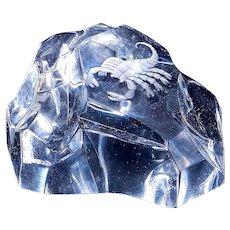 Vintage Val Saint Lambert Iceberg Crystal Art Glass With Intaglio Scorpion Paperweight