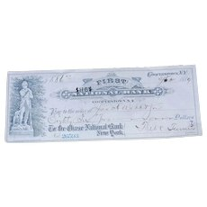Vintage 1889 Check from First National Bank Cooperstown NY