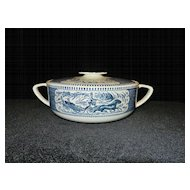 Vintage Currier and Ives Royal China Blue Covered Casserole