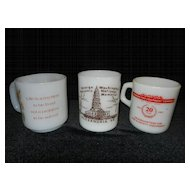 Vintage Milk Glass Coffee Mugs- Federal, Glassbake,