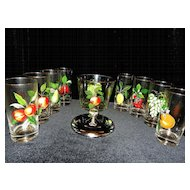 Vintage Fruit Decorated Glasses and Ice Bucket
