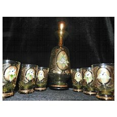 Vintage Moser Hand Painted Decanter with 6 Matching Glasses