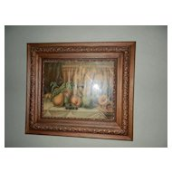 Vintages Oak and Gold Gilt Gesso 3 Layer Ornate Wall  Frame & 1904 James Lee Print  - Pears