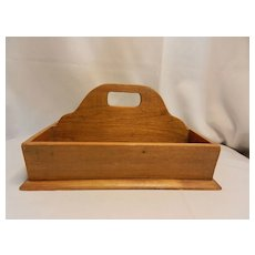 Vintage Wooden Tote or Cutlery Box