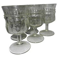 Vintage Jenkins Paneled Sunflower Water or Wine Glasses