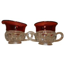 Vintage Kings Crown Thumbprint Ruby Flashed Sugar and Creamer