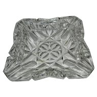Vintage Large Crystal Pressed Glass Ashtray
