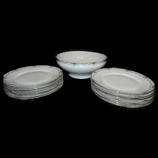 Vintage F-Legrand & Cie China Bowl and  Luncheon Plates Made in Limoges