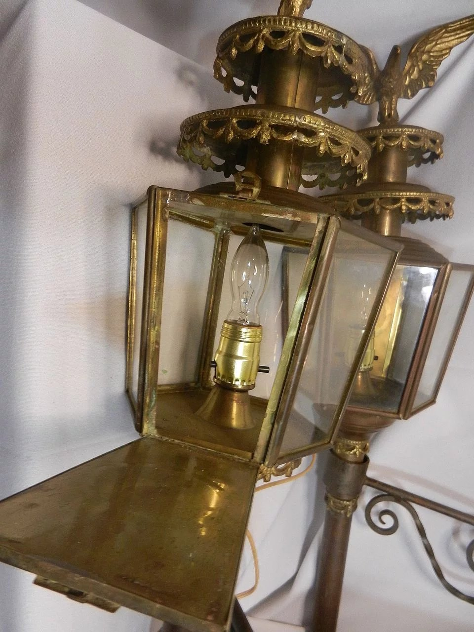 Antique Brass Coach Carriage Lantern With Eagle Sold