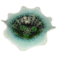 Vintage Green Opalescent Pearl Flowers Footed Bowl by Northwood
