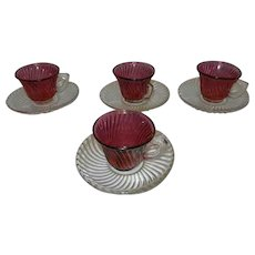 """Vintage Federal Glass Co """"Diana"""" pattern Demitasse  Cranberry Swirl Cup and Crystal Saucer"""