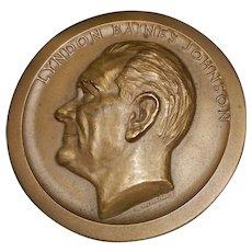 Vintage Commemorative Bronze Lyndon Johnson Inauguration Medal