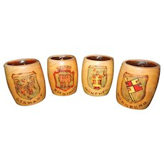 Vintage Hand Turned Wooden Mugs from Germany