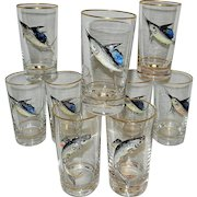 Vintage Bar Glasses with 3D Marlin and Trout