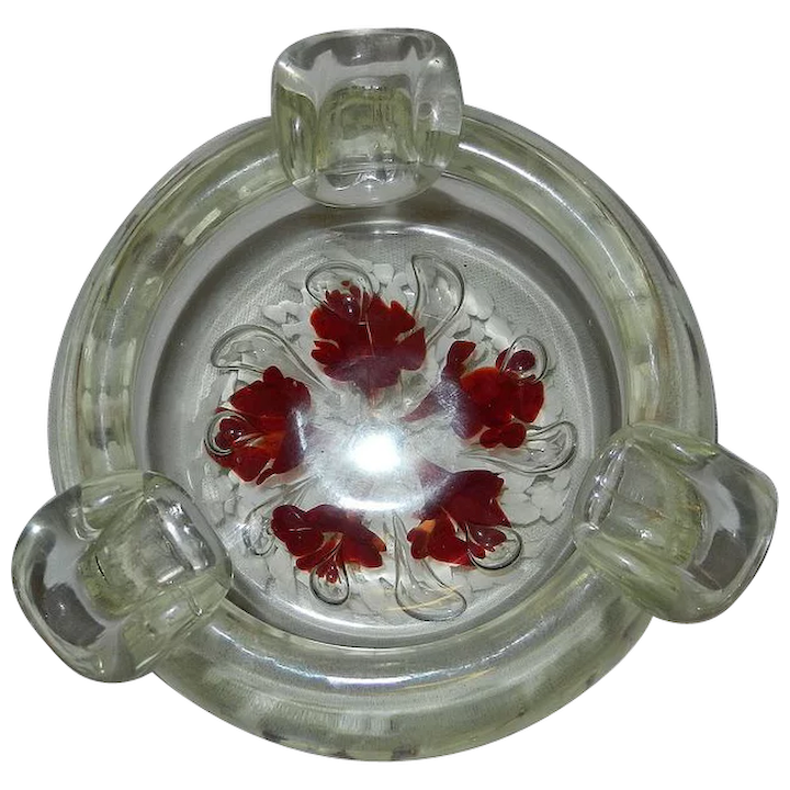 Vintage Unsigned St  Clair Art Glass Controlled Bubble Paperweight Ashtray