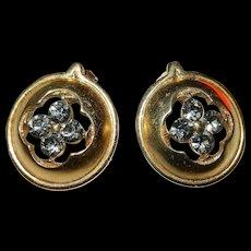 Trifari Gold Tone and Rhinestone Post Earrings