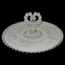 """Vintage Etched Crystal Imperial Candlewick 12"""" Center Heart Handle Tray"""