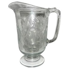 Vintage EAPG Barley Pitcher by Bryce Higbee and Co.