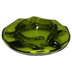 Vintage Green Glass Ashtray
