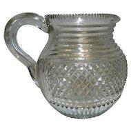 Vintage Cut Glass Milk or Juice Pitcher