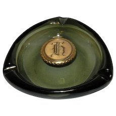 Vintage Green Glass Ashtray with Brass Monogram