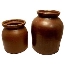 Vintage Red Ware Crock Canning Jars