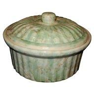 Vintage Green Spongeware Earthenware Pottery Casserole with Lid